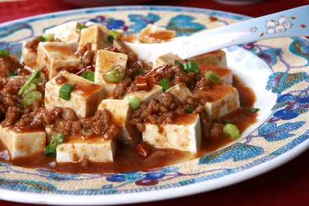 sichuan: Mapo Tofu - A Popular Chinese Spicy Dish from Sichuan with Minced Pork, Hot Chili Sauce