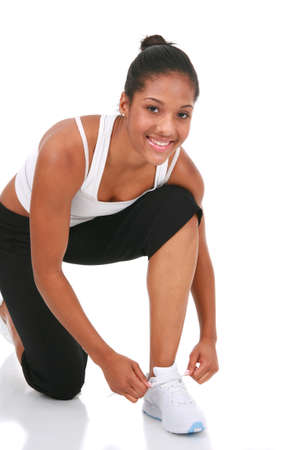Happy Young African American Female Get Ready to Exercise Stock Photo - 4103217