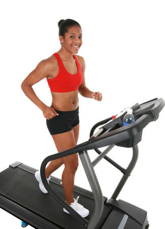 Healthy Happy Young African American Female Workout on Treadmill Isolated  photo