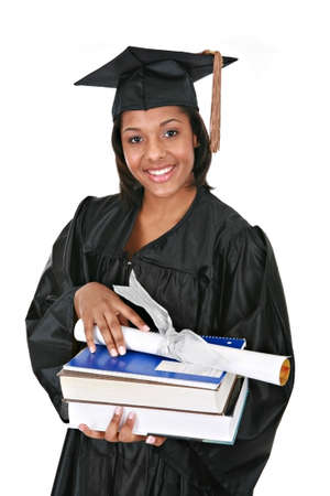 cap and gown: Young Happy African American Female Student Holding Graduation Certificate and Books Stock Photo