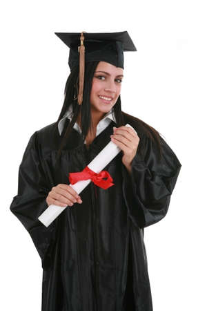 Happy Smiling Female Student Graduate Holding Diploma Isolated Stock Photo - 4103218