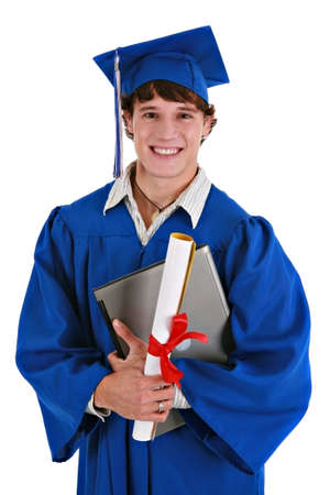 Young Happy Healthy Looking Male College Student Holding Graduation Certificate, Laptop Smiling Stock Photo