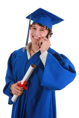 Smiling Young Male College Graduate Making Phone Call on Isolated background Stock Photo - 4116991