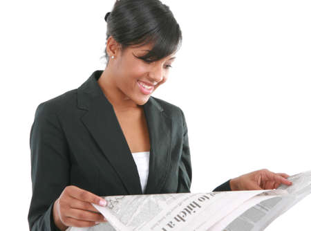 Young Businesswoman Reading Newspaper on Isolated White Background photo