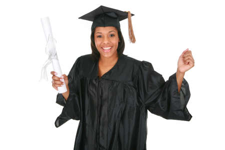 adolescent african american: Cheerful Young Happy African American Female Student Holding Graduation Certificate