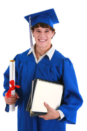 Young Happy Male College Student Holding Graduation Certificate on Isolated background Stock Photo - 4375025