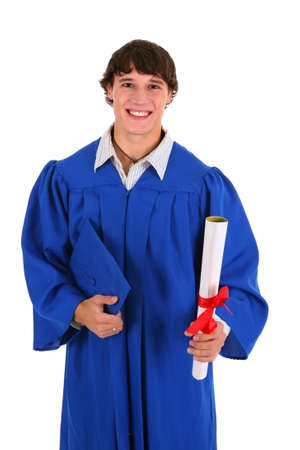 College Graduate Student Holding Certificate on Isolated Background Stock Photo - 4504999