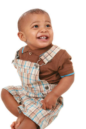 happy big smiling 1-year old baby boy portrait on isolated white Stock Photo - 4541543