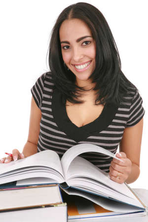Happy Casual Dressed Hispanic Female Student Studing Books Isolated on White Background photo