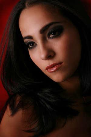 Beautiful Female Model Low Key Portrait photo