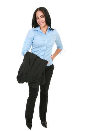 Natural Looking Happy Smiling Hispanic Businesswoman Standing photo