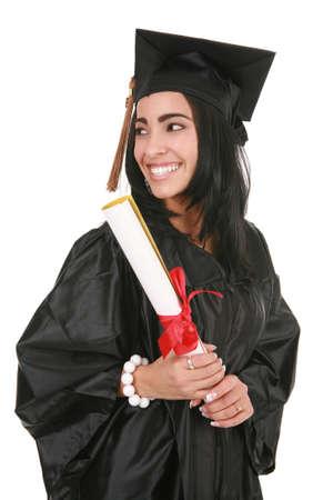 absolwent: Big Smile Hispanic Graduate College Pojedynczo na białym tle