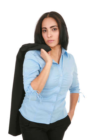 Happy Cheerful Young Hispanic Businesswoman Standing Isolated on White photo