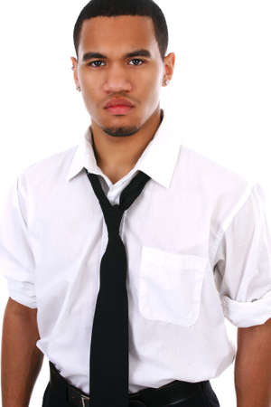 black fashion model: Young Black Fashion Model High Key Portrait on White