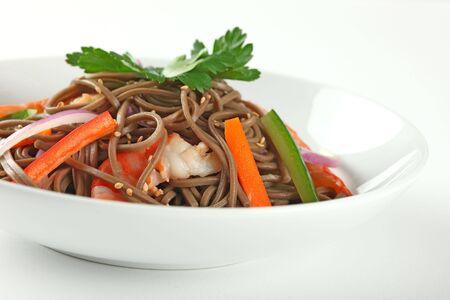 Cold Soba Buckwheat Noodle Salad, Popular Korean Dish