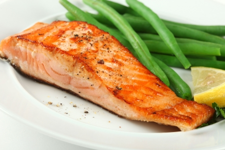 Closeup of Grilled Salmon Fellet with Green Beans Plate Stock Photo