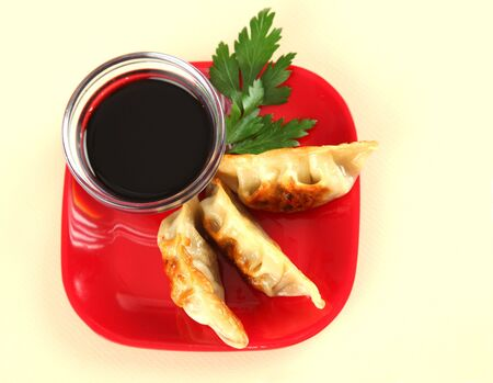 potstickers: Straight View of Fried Potstickers, Dumplings, Traditional Asian Food, Stuffed with Pork Meat or Vegetables Stock Photo
