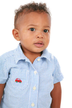 One Year Old Adorable African American Boy Portrait on White Background photo