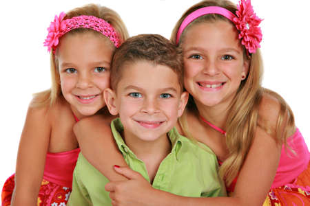 Bother and Sisters Portrait Isolated on White Background Stock Photo - 5782373
