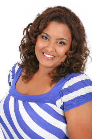 plus size woman: Cheerful Young African American Woman Portrait on White Background Stock Photo