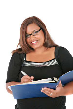 Cheerful Young Plus Size African American Business Woman Portrait on White Background photo