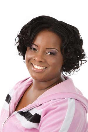Beautiful African American Plus Size Female Model Headshot Isolated on White Background photo