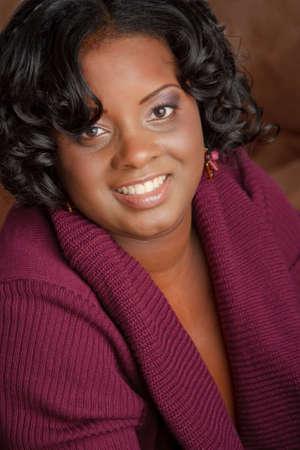 plus size woman: Beautiful African American Plus Size Female Fashion Model Headshot Portrait Stock Photo