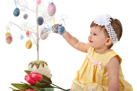 One Year Old Little Girl Easter Portrait on Isolated Background Stock Photo - 7078304