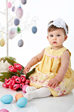 One Year Old Little Girl Easter Portrait Stock Photo - 7078305