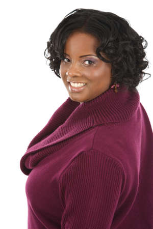 black sweater:  Cheerful Young African American Woman Portrait on White Background Isolated Stock Photo