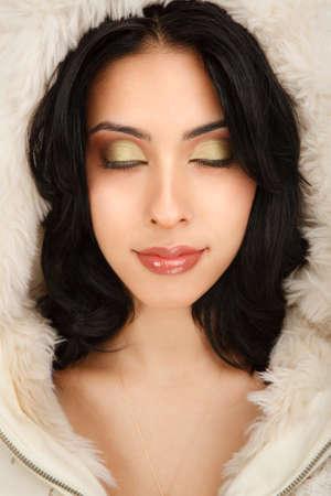 Beautiful Fashion Model Closeup Dream Expression Eye Closed photo