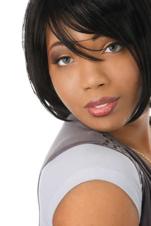 african american woman: Beautiful Young African American Female Headshot Isolated