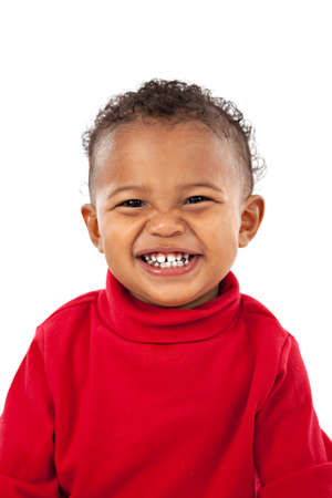 isolated on the white background: Big Smiling Adorable African American Boy on Isolated White Background