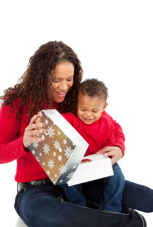 African American Boy Open Christmas Gift Box with Mom photo