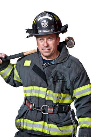 пожарный: Серьезные ищет уверен портрет постоянный пожарный Фото со стока