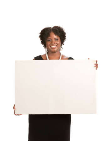 holding blank sign: Happy Smiling African American Female Holding Blank Board Isolated Stock Photo
