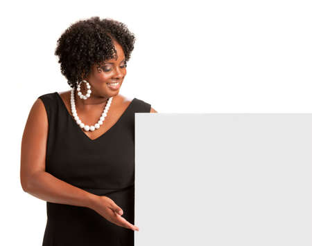 Happy Smiling African American Female Holding Blank Board Isolated Stock Photo - 10531451