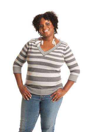 sizes: Casual Dressed Young African American Woman Standing Portrait on White Stock Photo