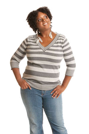 overweight people: Casual Dressed Young African American Woman Standing Portrait on White Stock Photo