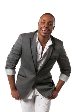 Smiling Young African American Male Model Natural Looking on Isolated Background Stock Photo - 10531433