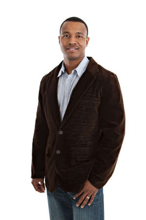 male: Natural Looking Smiling Young African American Male Model on Isolated Background Stock Photo