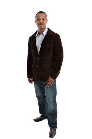 casual business: Natural Looking Smiling Young African American Male Model on Isolated Background Stock Photo