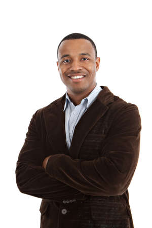 african american male: Natural Looking Smiling Young African American Male Model on Isolated Background Stock Photo