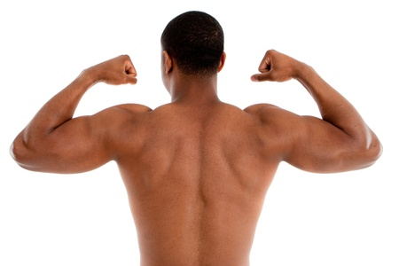 Rear View of Shirtless Black Male Model with Strong Healthy Body on White Background Stock Photo - 10531293