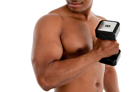Black Male Model with Strong Healthy Body Holding Weights on White Background photo