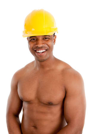Shirtless Black Male Construction Worker with Strong Healthy Body on White Background Stock Photo - 10531295