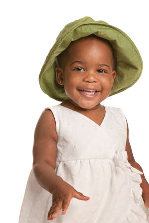 black shirt: Three Years Old Adorable African American Girl Portrait on White Background Stock Photo