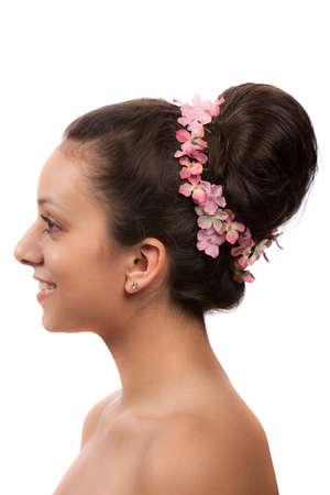 woman face profile: Hispanic Bride Profile View