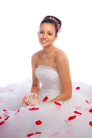 Beautiful Hispanic Bride Portrait On White Background photo
