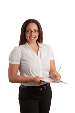 Plus Size Business Woman Writing on Clipboard Isolated on White photo